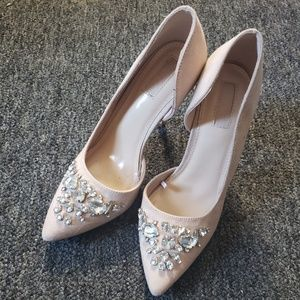 Faux Suede Embellished Heels